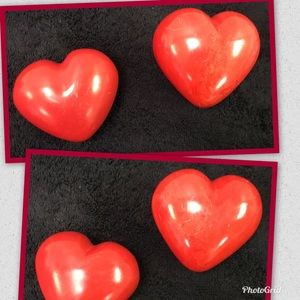 Red Alabaster Heart Paper Weights